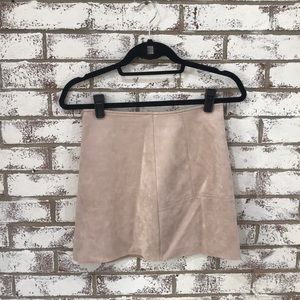 Blush Pink Suede Mini Skirt